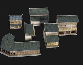 3D asset Ancient Chinese Shop Buildings with 1