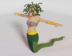 rigged realtime low poly 3d medusa - rigged