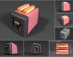3D asset Simple low-poly cartoony toaster - no wire