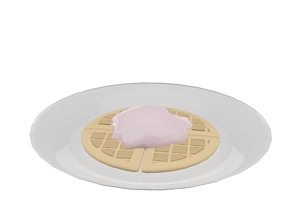 3D asset Waffle with ice cream