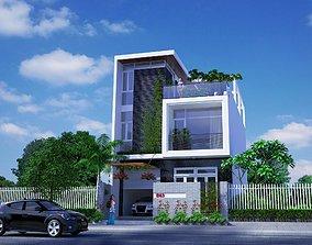 suburban outdoors animated House design 3d model