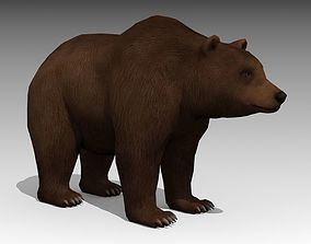 3D model low-poly Grizzly Bear Animated