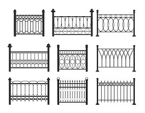 iron 3D model Set of metal fences