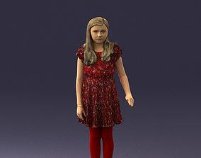 Girl in the red tights and dress 0277 3D Print Ready