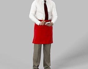 3D asset Michael A Caucasian Male Waiter Standing While 2