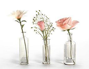 3D model bottle Glass Vases With Flowers