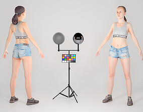 Athletic woman in jeans shorts ready for 3D asset 1