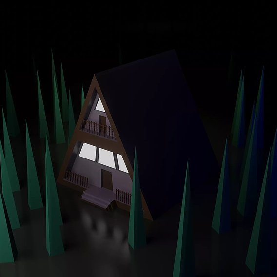 Low poly wooden house