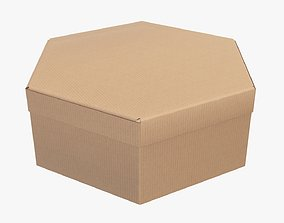 3D model Paper box hexagonal packaging closed 02 1