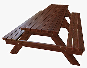 wood 3D model game-ready Bench