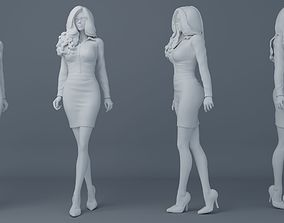 3D print model Office girl wearing uniforms 002