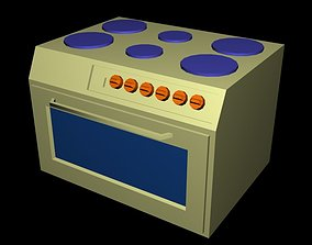 3D model low-poly gas-stove