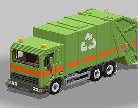 Voxel Garbage Truck 3D asset