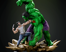 3D printable model Hulk vs Wolverine diorama