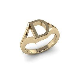 3D print model Jewelry Alphabet Ring D