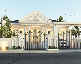 3D White classical house