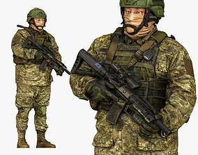 3D model modern soldier in camouflage honeybadger 001149