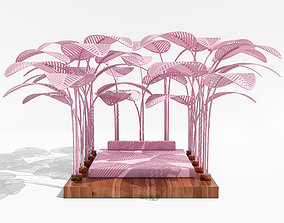 Pink Refuge Bed with Wooden Base by Marc Ange 3D model