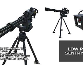 3D asset Low Poly Sentry Gun