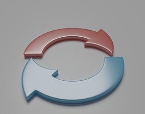 Half circle arrow 3D model