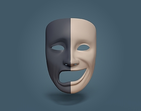 Theater Mask - Double Faces 3D model