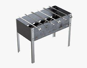 Charcoal grill bbq skewer steel 3D model