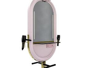 3D model hairdresser table mirror pink brass furniture
