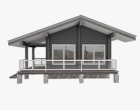 European Wood TImber House With Sauna 3D