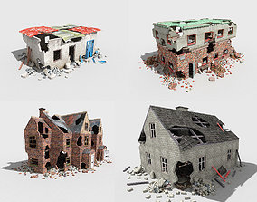 3D model 4 low poly destroyed buildings pack 2