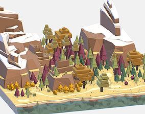 Isometric style autumn big mountain landscape on 3D asset