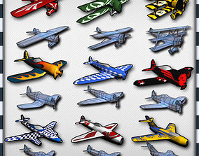 Air Plane Pack 9 Models With LODs low-poly
