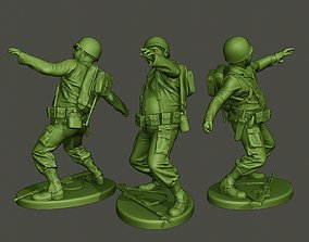 American soldier ww2 throwing grenade A3 3D print model