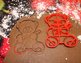 Teddy bear with guitar Cookie Cutter 3D print model