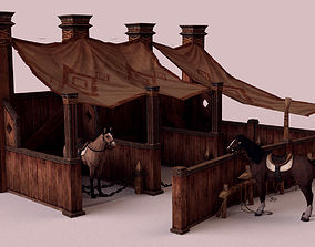 Stable and Horse 3D asset