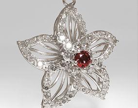 tiara 3d printable Flower pendant necklace