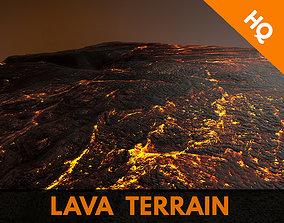 3D model Lava Terrain Magma Surface Landscape PBR 01