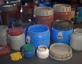 Plastic Barrels - Game ready props 3D asset