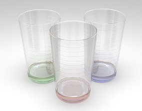 Ribbed drinking glass 3D
