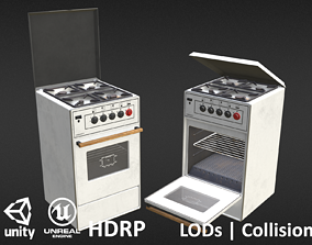 Game-ready Retro White Gas Oven 3D model low-poly