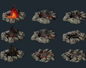 Camp Fire Pit Pack 01 Game Ready 3D model game-ready