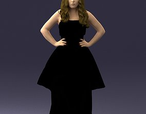 Girl in a black evening dress 0340 3D Print Ready
