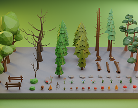 3D asset Low Poly Trees Grass and Rocks