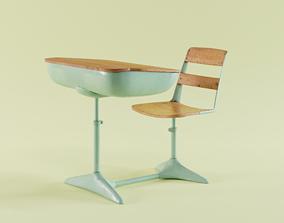 3D asset low-poly Old vintage school desk with chair