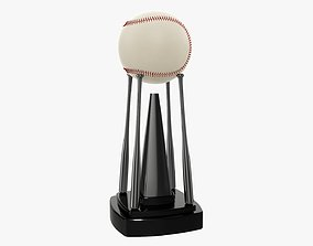 3D model Trophy baseball ball and bats 02