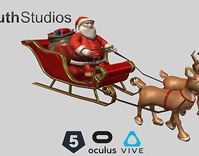 3D asset Animated Santa Sleigh