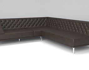 3D model Savile black leather tufted sectional sofa