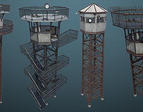 Unity PBR Modular Guard Tower Set 3D asset