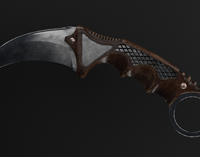 3D model PBR Karambit Knife Wooden Handle Low-Poly
