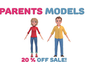 Cartoon Cute Mother Woman and Father Man 3D