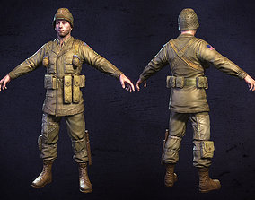 American Soldier World War Low Poly 3D model